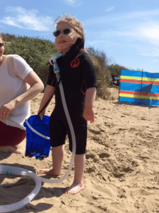 Francesca's daughter in wetsuit June 2015